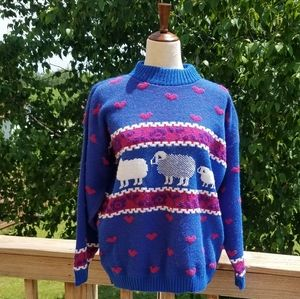 Vintage 90s Private Eyes Heart & Sheep Sweater